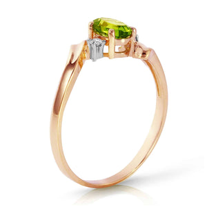 0.46 Carat 14K Solid Rose Gold Rings Natural Diamond Peridot - Ring - valdajewelry - valdajewelry