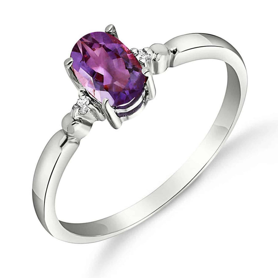 0.46 Carat 14K Solid White Gold That Avails Much Amethyst Diamond Ring - Ring - valdajewelry - valdajewelry