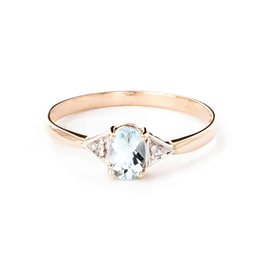 0.46 Carat 14K Solid Rose Gold Oval Aquamarine Diamond Ring - Ring - valdajewelry - valdajewelry