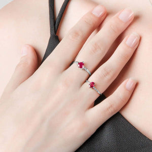 0.51 Carat 14K Solid White Gold Ring Natural Diamond Ruby - Ring - valdajewelry - valdajewelry