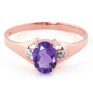 0.76 Carat 14K Solid Rose Gold Brilliance Amethyst Diamond Ring - Ring - valdajewelry - valdajewelry