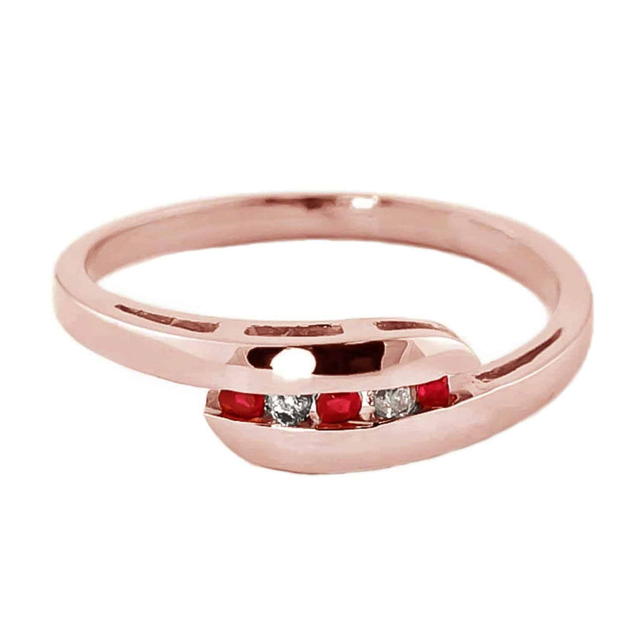 0.25 Carat 14K Solid Rose Gold Ring Channel Set Diamond Ruby - Ring - valdajewelry - valdajewelry