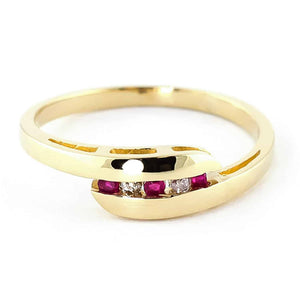 0.25 Carat 14K Solid Yellow Gold Ring Channel Set Diamond Ruby - Ring - valdajewelry - valdajewelry