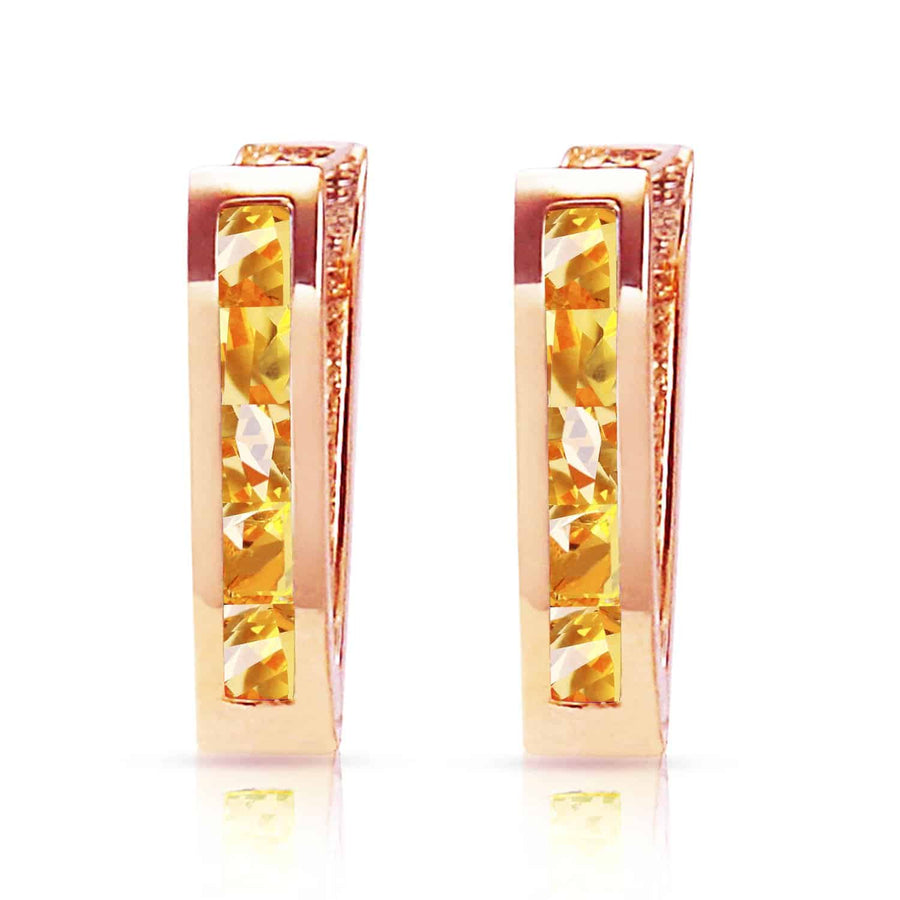 0.7 Carat 14K Solid Rose Gold Oval Huggie Earrings Citrine - Earring - valdajewelry - valdajewelry
