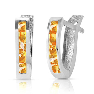 0.7 Carat 14K Solid White Gold Oval Huggie Earrings Citrine - Earring - valdajewelry - valdajewelry