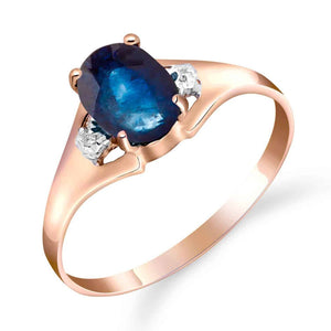 1.26 Carat 14K Solid Rose Gold Ring Natural Diamond Sapphire