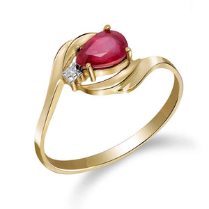 0.51 Carat 14K Solid Yellow Gold Ruby Heat Ruby Diamond Ring - Ring - valdajewelry - valdajewelry