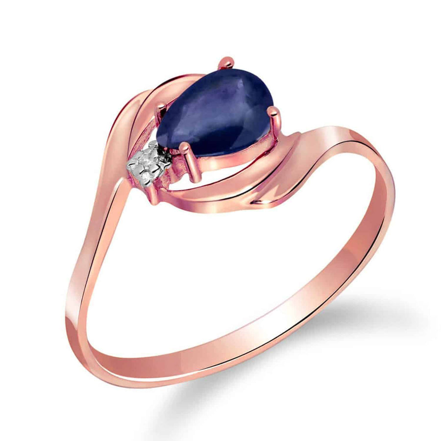 0.51 Carat 14K Solid Rose Gold Waves Sapphire Diamond Ring - Ring - valdajewelry - valdajewelry