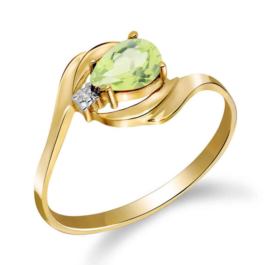 0.41 Carat 14K Solid Yellow Gold Indulge In Passion Peridot Diamond Ring - Ring - valdajewelry - valdajewelry