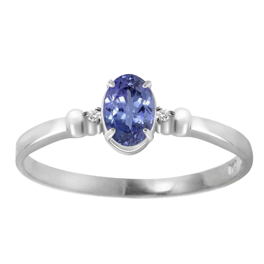 0.46 Carat 14K Solid White Gold Ring Natural Diamond Tanzanite - Ring - valdajewelry - valdajewelry
