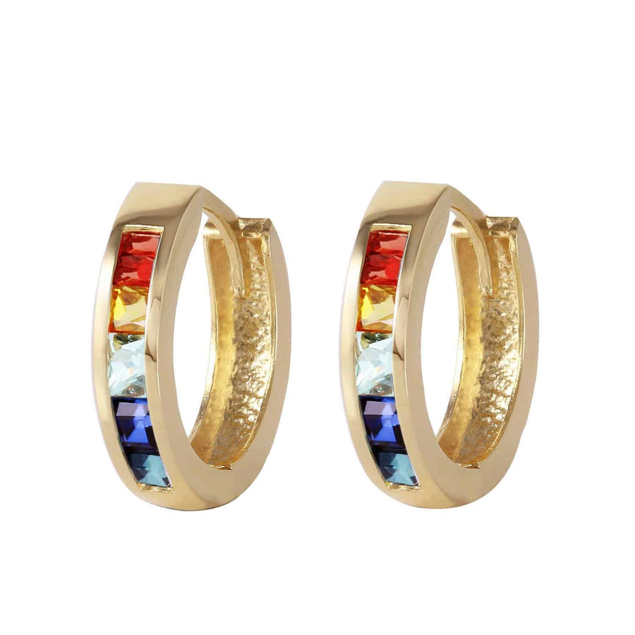 1.3 Carat 14K Solid Yellow Gold Hoop Earrings Multicolor Sapphire