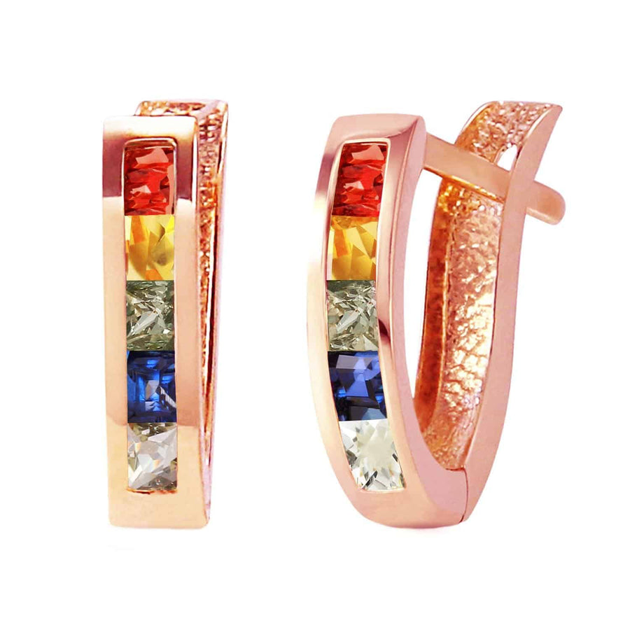 1.3 Carat 14K Solid Rose Gold Huggie Earrings Multicolor Sapphire