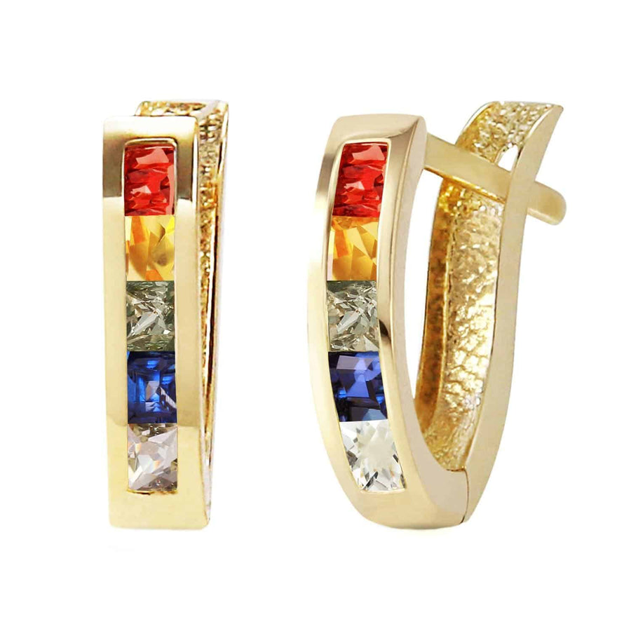 1.3 Carat 14K Solid Yellow Gold Huggie Earrings Multicolor Sapphire