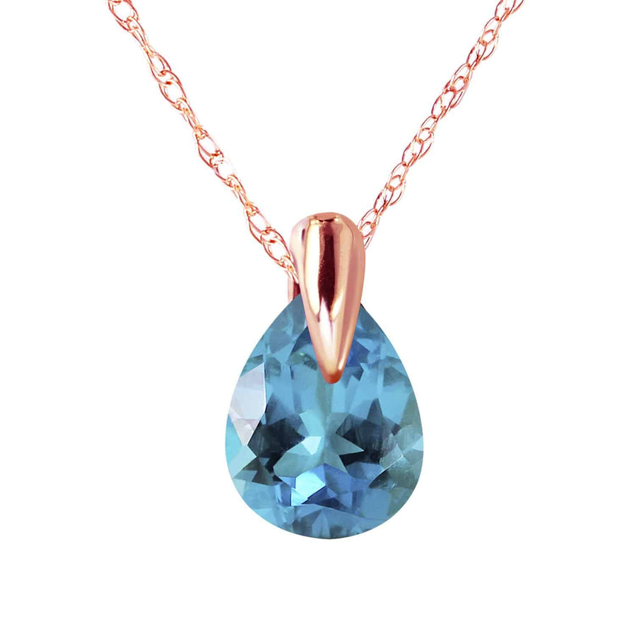 0.68 Carat 14K Solid Rose Gold Necklace Natural Blue Topaz - Necklace - valdajewelry - valdajewelry