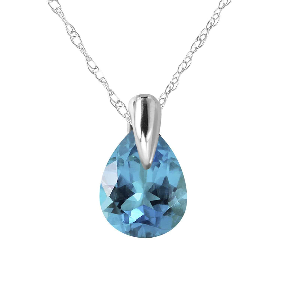 0.68 Carat 14K Solid White Gold Necklace Natural Blue Topaz - Necklace - valdajewelry - valdajewelry