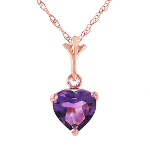 1.15 Carat 14K Solid Rose Gold Necklace Natural Purple Amethyst