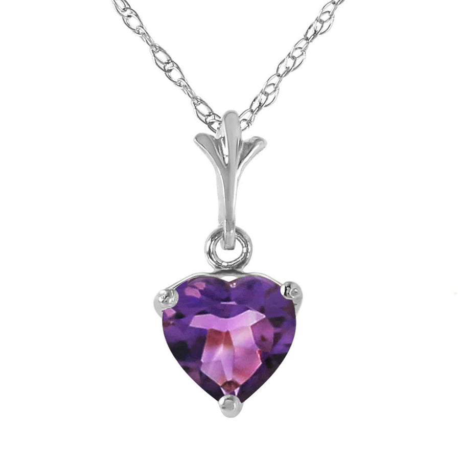 1.15 Carat 14K Solid White Gold Necklace Natural Purple Amethyst