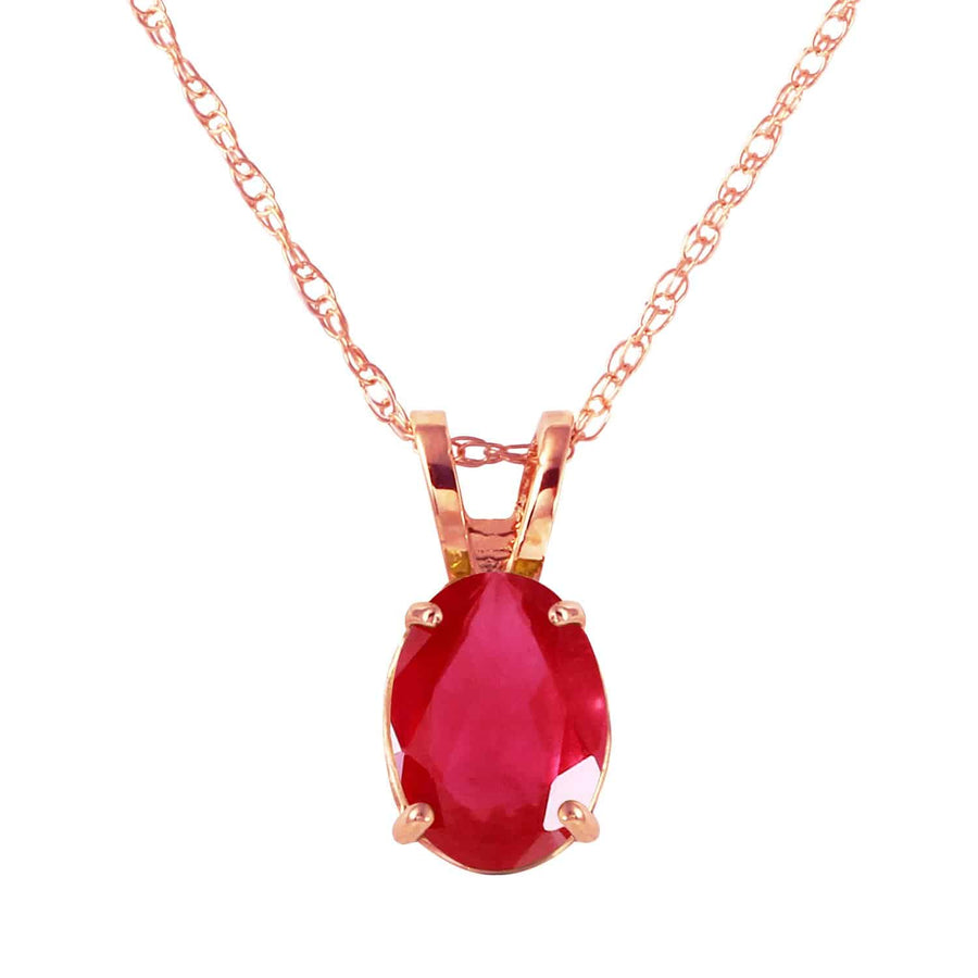 1 Carat 14K Solid Rose Gold Necklace Natural Ruby - Necklace - valdajewelry - valdajewelry