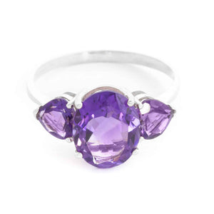 4 Carat 14K Solid White Gold Duress Amethyst Ring