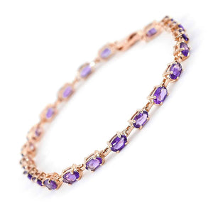 14K Solid Rose Gold Tennis Bracelet  Amethyst