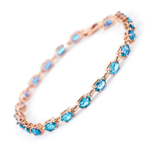 14K Solid Rose Gold Tennis Bracelet  Blue Topaz