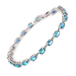 5.5 Carat 14K Solid White Gold Tennis Bracelet Blue Topaz