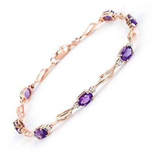 14K Solid Rose Gold Tennis Bracelet  Amethysts & Diamonds