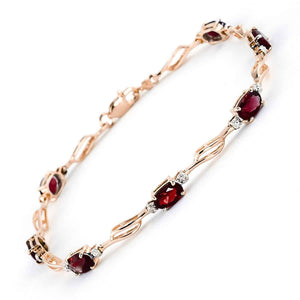 14K Solid Rose Gold Tennis Bracelet Garnet & Diamond