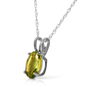 0.85 Carat 14K Solid White Gold Fit For A Queen Peridot Necklace - Necklace - valdajewelry - valdajewelry