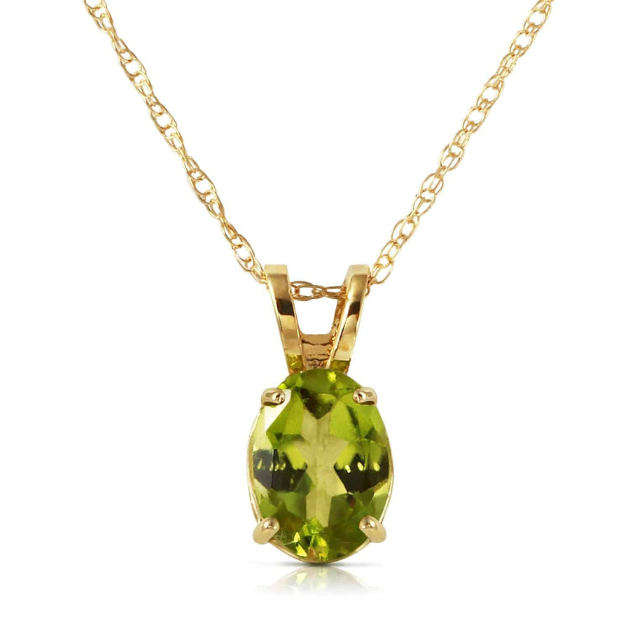 0.85 Carat 14K Solid Yellow Gold Surprised By Joy Peridot Necklace - Necklace - valdajewelry - valdajewelry