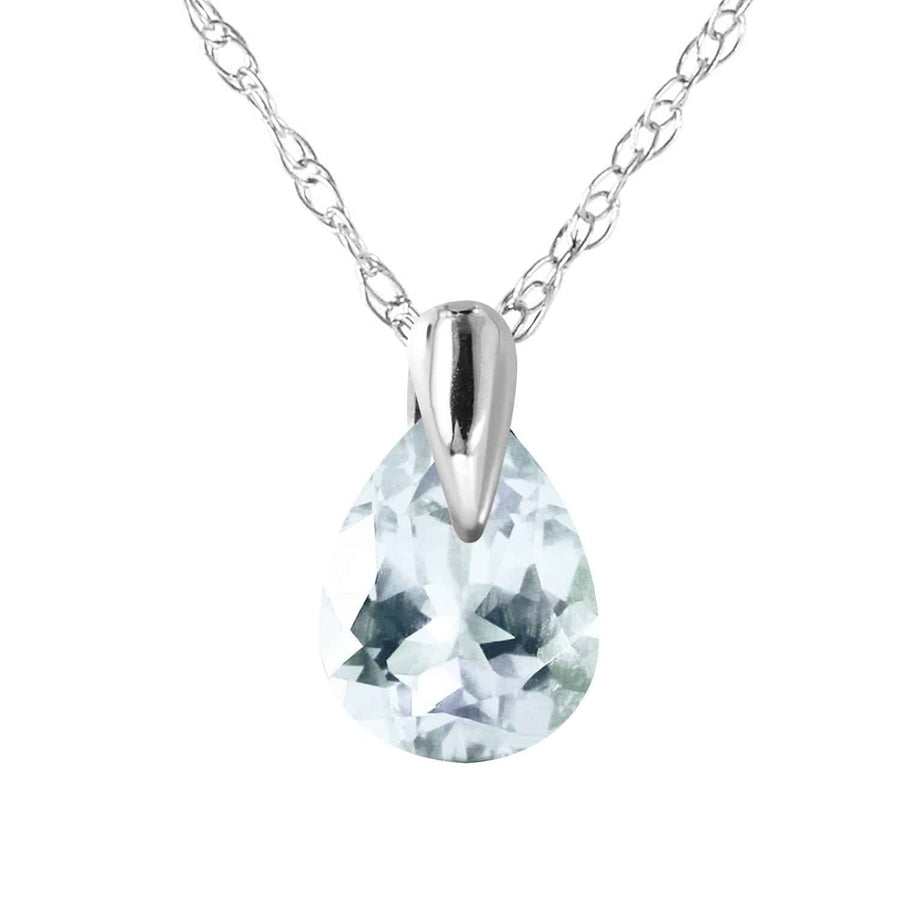 0.68 Carat 14K Solid White Gold Necklace Natural Aquamarine - Necklace - valdajewelry - valdajewelry
