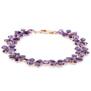 14K Solid Rose Gold Bracelets  Natural Amethysts