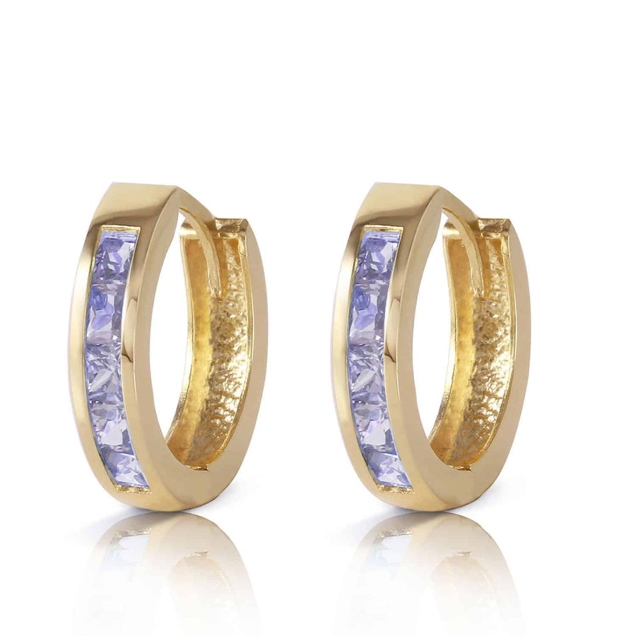 0.95 Carat 14K Solid Yellow Gold Huggie Hoop Earrings Tanzanite - Earring - valdajewelry - valdajewelry