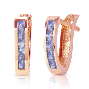 0.95 Carat 14K Solid Rose Gold Tanzanite Huggie Oval Earrings - Earring - valdajewelry - valdajewelry