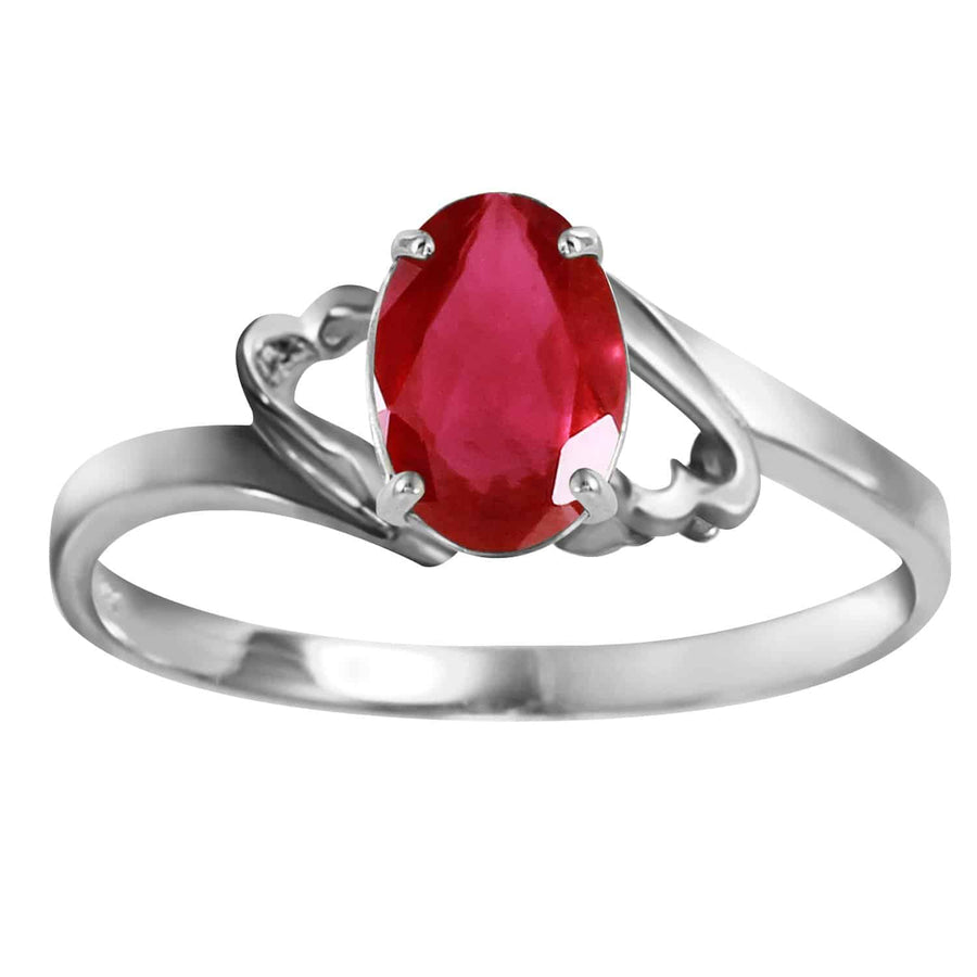 1.15 Carat 14K Solid White Gold Ring Natural Ruby