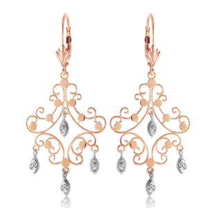 0.04 Carat 14K Solid Rose Gold Chandelier Diamond Earrings