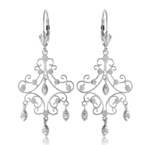 0.04 Carat 14K Solid White Gold Chandelier Diamond Earrings