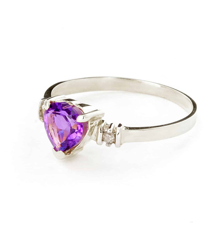 0.98 Carat 14K Solid White Gold Ring Natural Purple Amethyst Diamond - Ring - valdajewelry - valdajewelry