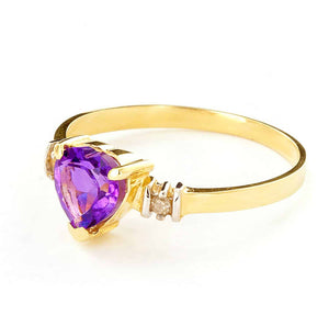0.98 Carat 14K Solid Yellow Gold Ring Natural Purple Amethyst Diamond - Ring - valdajewelry - valdajewelry