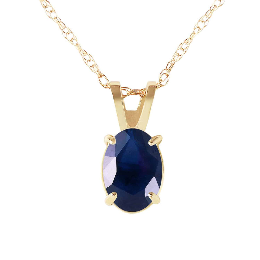 1 Carat 14K Solid Yellow Gold Upon The Waters Sapphire Necklace - Necklace - valdajewelry - valdajewelry