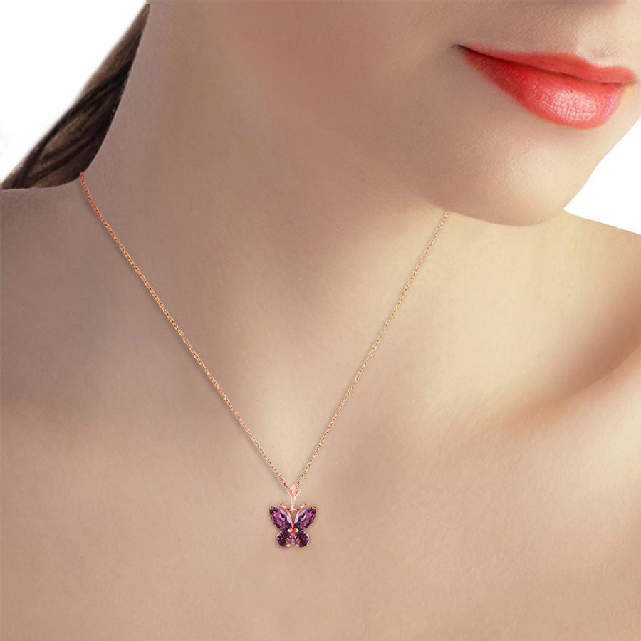 0.6 Carat 14K Solid Rose Gold Butterfly Necklace Purple Amethyst - Necklace - valdajewelry - valdajewelry