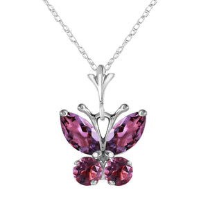 0.6 Carat 14K Solid White Gold Butterfly Necklace Purple Amethyst - Necklace - valdajewelry - valdajewelry