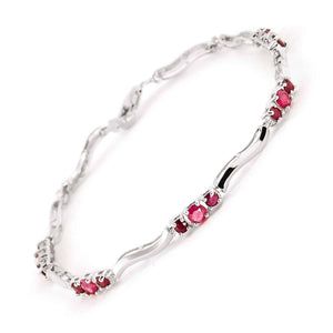 1.76 Carat 14K Solid White Gold Blowing Kisses Ruby Diamond Bracelet