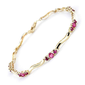 1.76 Carat 14K Solid Yellow Gold Dance The Foxtrot Ruby Diamond Bracelet