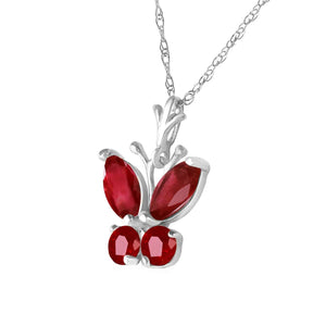 0.6 Carat 14K Solid White Gold Butterfly Necklace Natural Ruby - Necklace - valdajewelry - valdajewelry