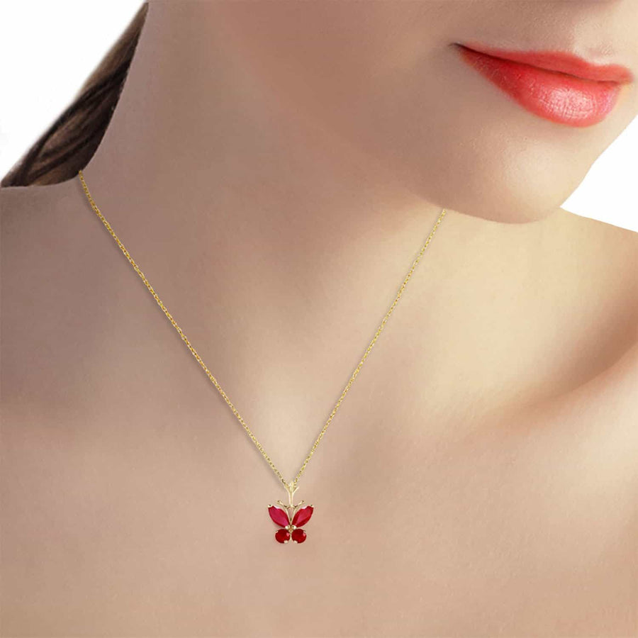 0.6 Carat 14K Solid Yellow Gold Butterfly Necklace Natural Ruby - Necklace - valdajewelry - valdajewelry