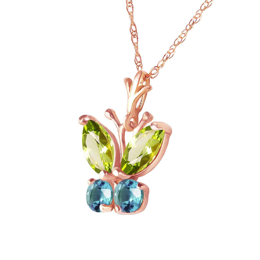 0.6 Carat 14K Solid Rose Gold Butterfly Necklace Blue Topaz Peridot - Necklace - valdajewelry - valdajewelry