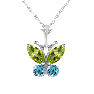 0.6 Carat 14K Solid White Gold Butterfly Necklace Blue Topaz Peridot - Necklace - valdajewelry - valdajewelry