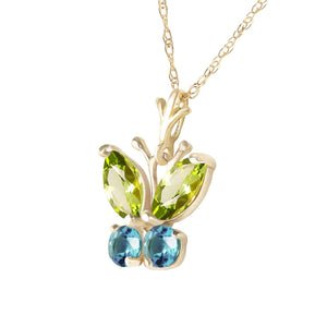 0.6 Carat 14K Solid Yellow Gold Butterfly Necklace Blue Topaz Peridot - Necklace - valdajewelry - valdajewelry