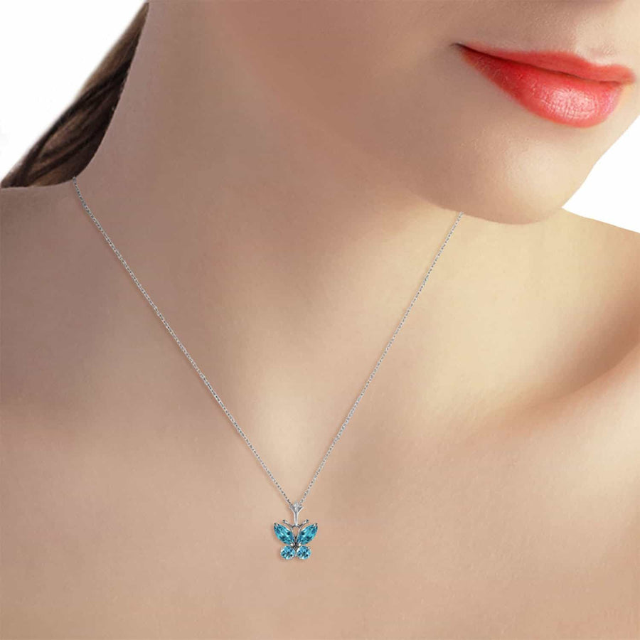 0.6 Carat 14K Solid White Gold Butterfly Necklace Blue Topaz - Necklace - valdajewelry - valdajewelry